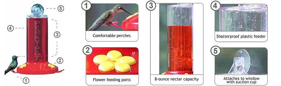 Perky-Pet 8-Ounce Window-Mount Hummingbird Feeder