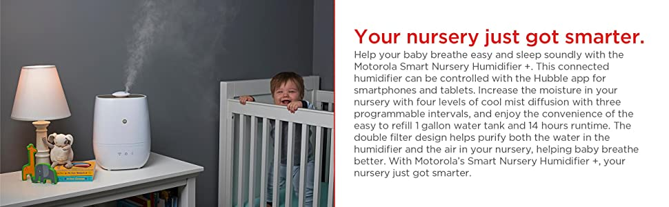 Motorola Smart Nursery Humidifier Plus Connected Humidifier with Air and Water Purification