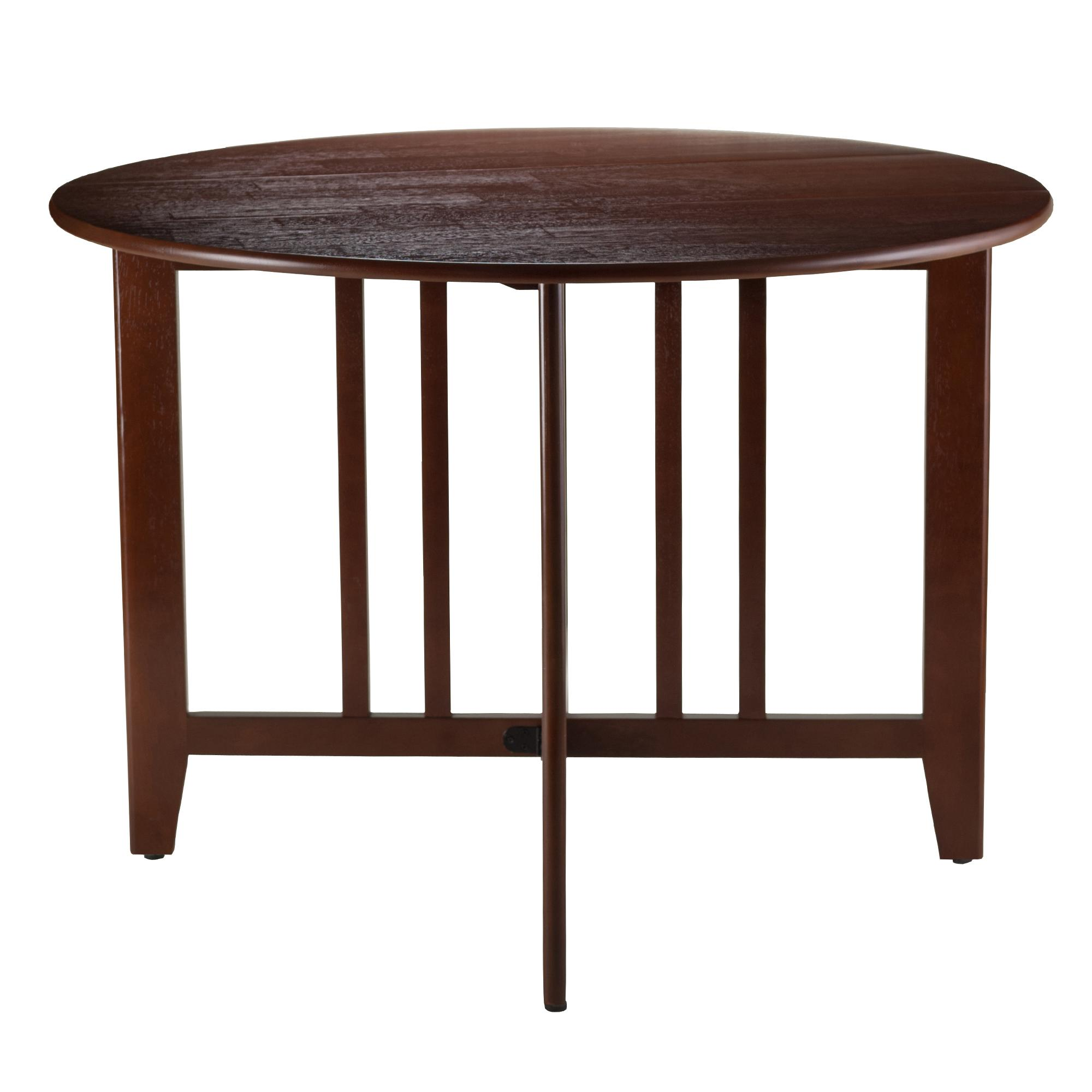 Winsome wood table double drop leaf round mission moon shape fold down - View Larger