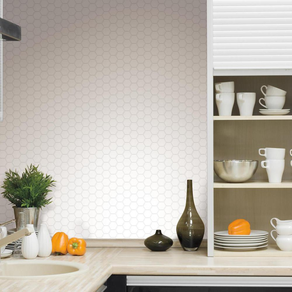 - RoomMates Pearl Hexagon Peel And Stick Tile Backsplash, 4-pack
