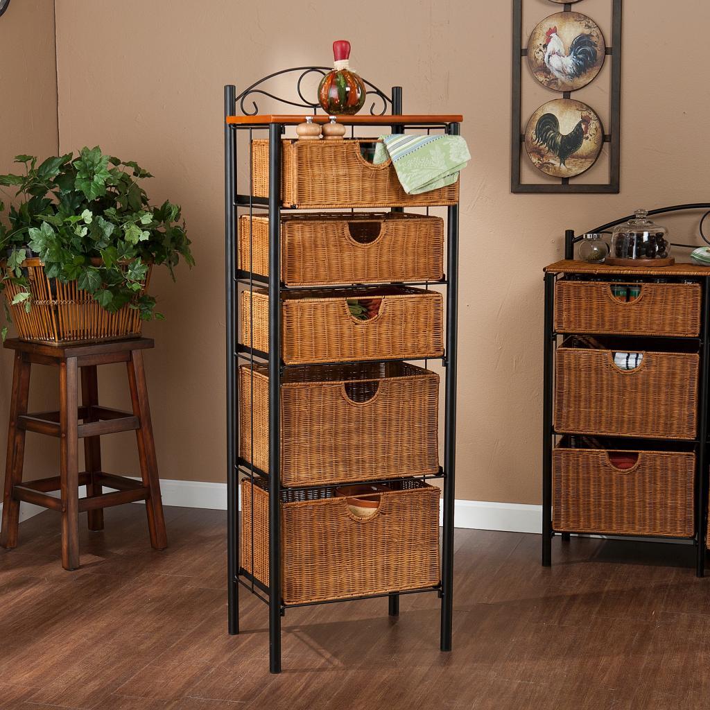 Amazon Com 5 Drawer Storage Unit W Wicker Baskets