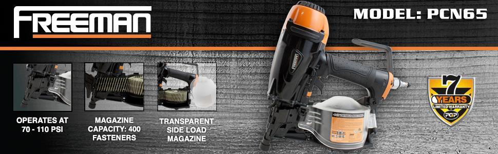 Freeman PCN65 2-1//2-Inch Coil Siding Nailer Magnesium Construction Adjustment