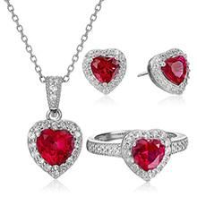 Sterling Silver Created Red Ruby Open Heart Pendant Necklace, 18
