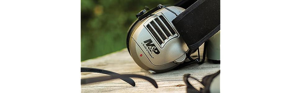 electronic hearing protection, e-max, caldwell muffs, howard leight, shooting muffs, range muffs,Mamp;P