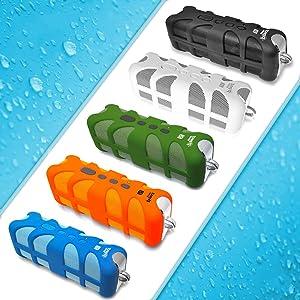 splash, water, sound, audio, music, streaming, portable, convenient, blue, black, white, orange,
