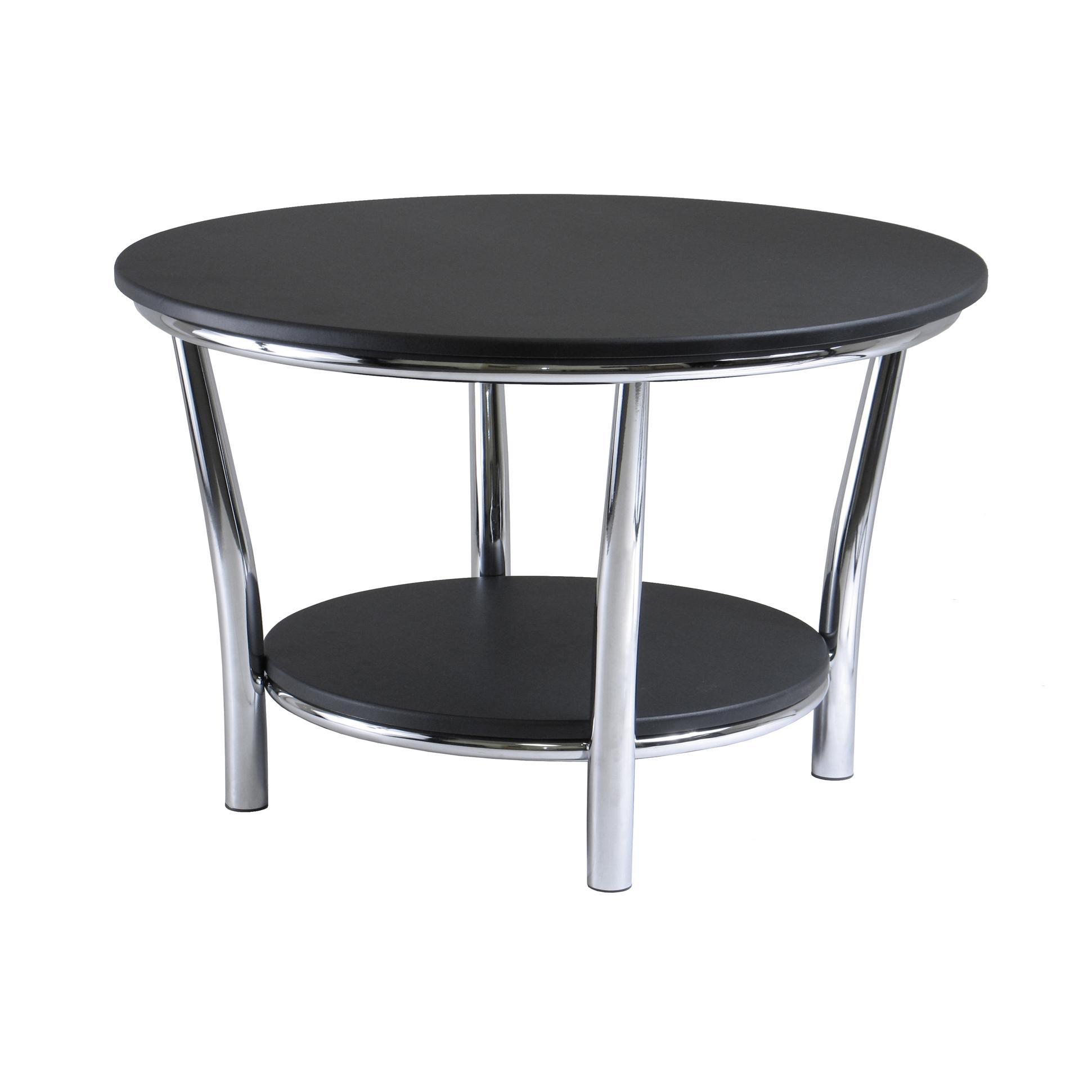 Winsome Wood Maya Round Coffee Table Black Top Metal Legs Amazon