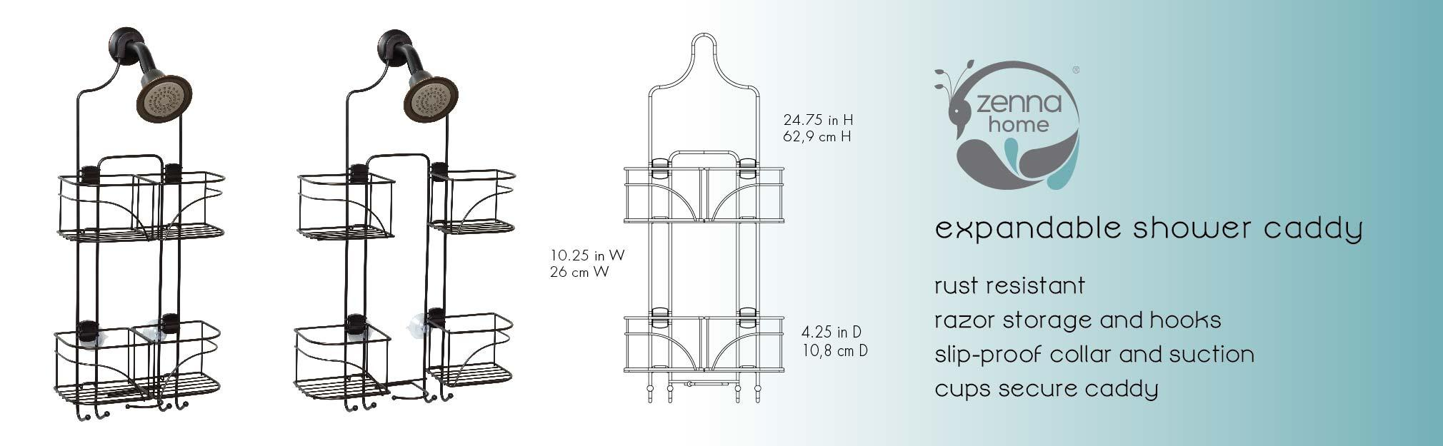 Amazon.com: Zenna Home E7446HB, Expandable Over-the-Showerhead Caddy ...