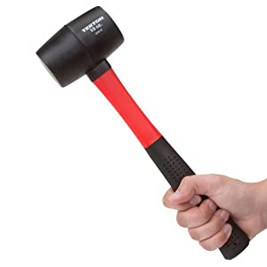 RUBBER MALLET HAMMER 16oz STEEL SHAFT CAMPING RUBBER GRIP TOOLS DIY SOLID CAMP