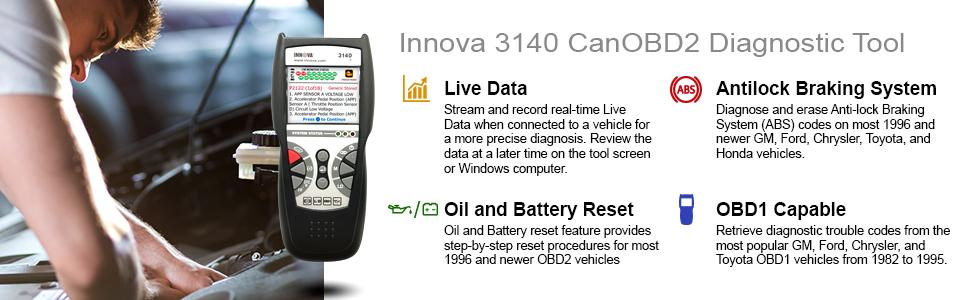 Innova 3140e Code Reader / Scan Tool with ABS and Live Data for OBD2  Vehicles with OBD1 Coverage