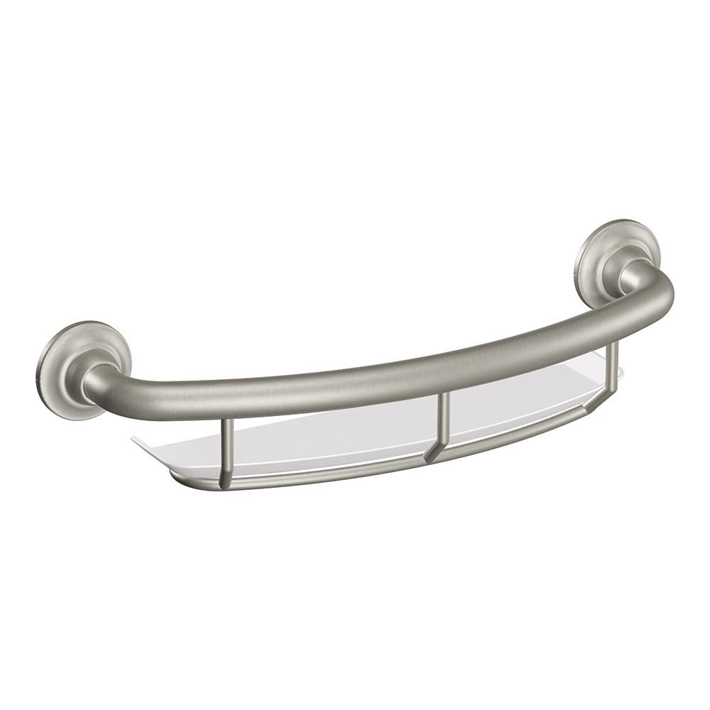 Amazoncom Moen Lr2356dbn 16 Inch Grab Bar With Shelf Brushed