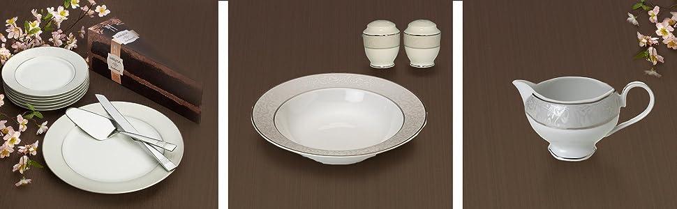 mikasa parchment, dinnerware set, fancy plates, fine china sets, white dinnerware