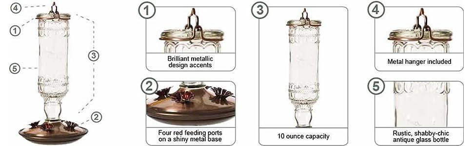 Perky-Pet Clear 10 oz. Antique Bottle Glass Hummingbird Feeder