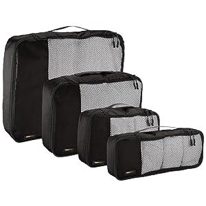 AmazonBasics Packing Cubes - 4 Piece Set (Small, Medium, Large, and Slim)