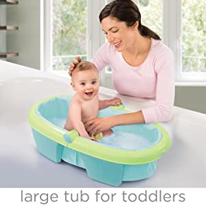 The Fold Away Baby Bath Grows With Your Baby. Remove The Inclined  Positioner To Create A Larger Bathing Area For Your Older Baby.