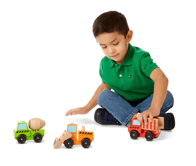 Amazon Com Melissa Doug Stacking Construction Vehicles Wooden Toy