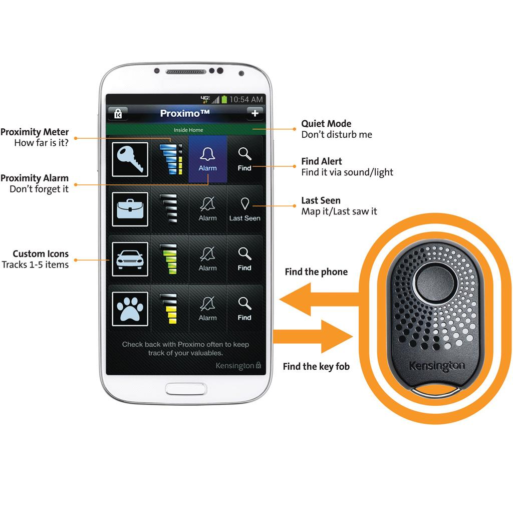 Key Fob App >> Kensington Proximo Key Fob Bluetooth Tracker For Iphone 5s 5c 5 4s And Samsung Galaxy S3 S4