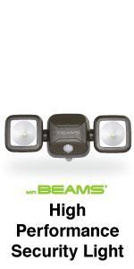 mr beams high performance security light, dual head led spotlight, outdoor security light