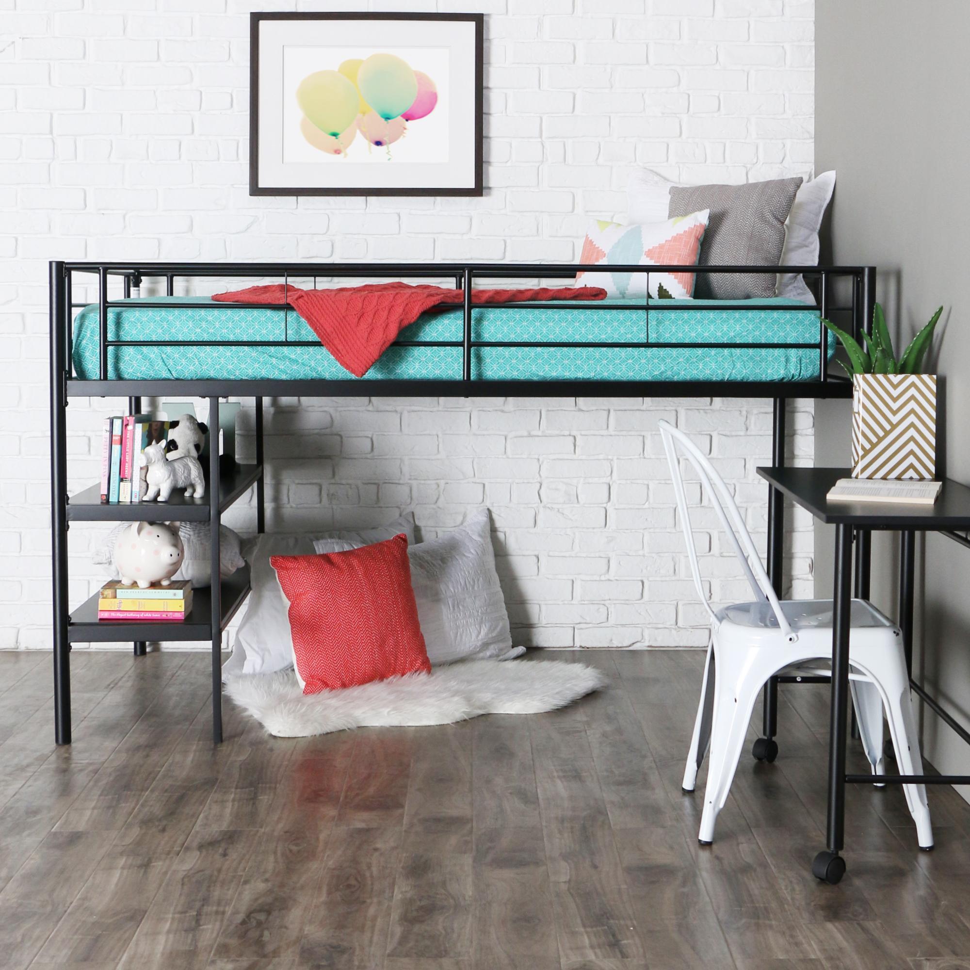 walker edison we furniture twin loft bed with desk and shelves black home kitchen. Black Bedroom Furniture Sets. Home Design Ideas