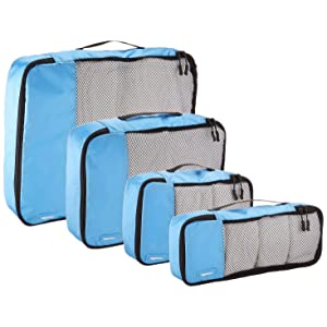 AmazonBasics Packing Cubes - 4 Piece Set (Small, Medium, Large, and Slim)