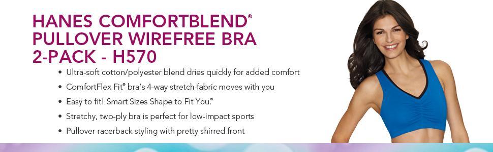 6162f50459 Hanes Women s Comfort-Blend Flex Fit Pullover Bra (2-Pack) at Amazon ...