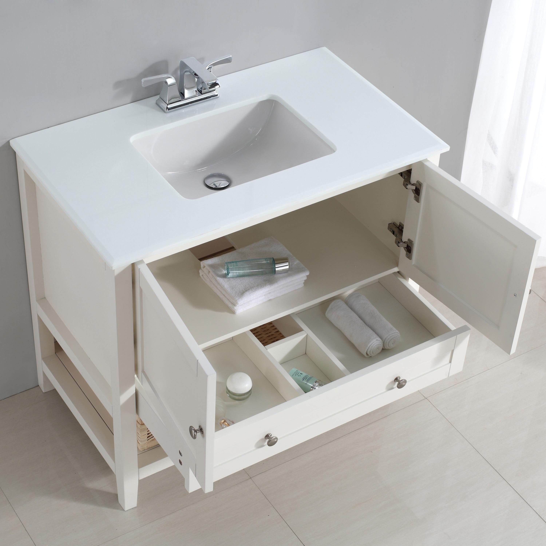 "Simpli Home Cape Cod 36"" Bath Vanity With White Quartz"