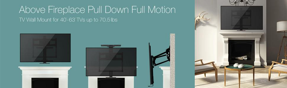 monoprice above fireplace pull down full motion tv wall mount 40 to 63 inch tvs with lifetime. Black Bedroom Furniture Sets. Home Design Ideas