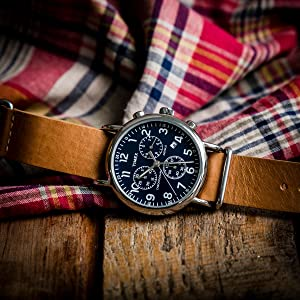 timex weekender chrono TW2P62300 blue tan leather strap