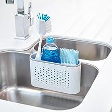 White Minky Kitchen Sink Side Washing Up Utensils Tidy Storage Organiser Caddy