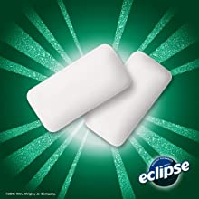 The full line of Eclipse Flavors: two chews of spearmint chewing gum
