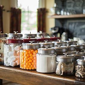 pantry; storage; glass; metal lids; airtight;