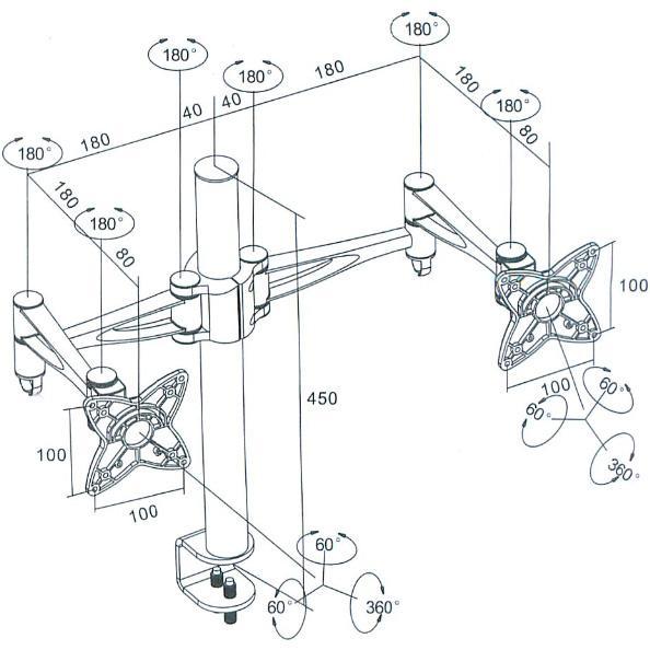 Amazon Com Monoprice 3 Way Adjustable Tilting Dual Desk Mount