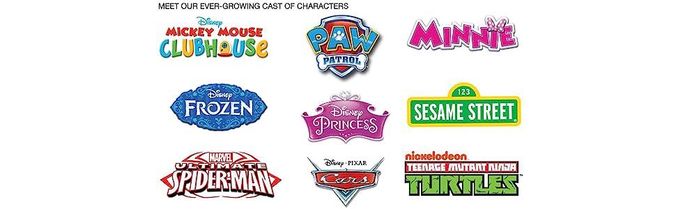 mickey, minnie, frozen, princess, spiderman, elmo, paw, patrol, ninja, turtles, cars, furniture