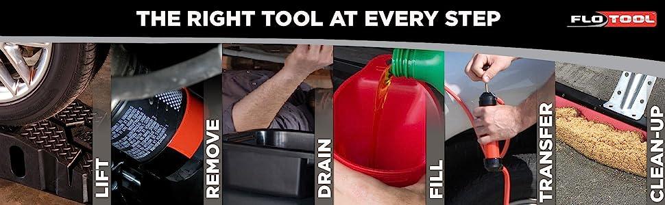 fuel; oil; fluid; fluid management; engine; undercar; oil management; oil change; coolant; filter