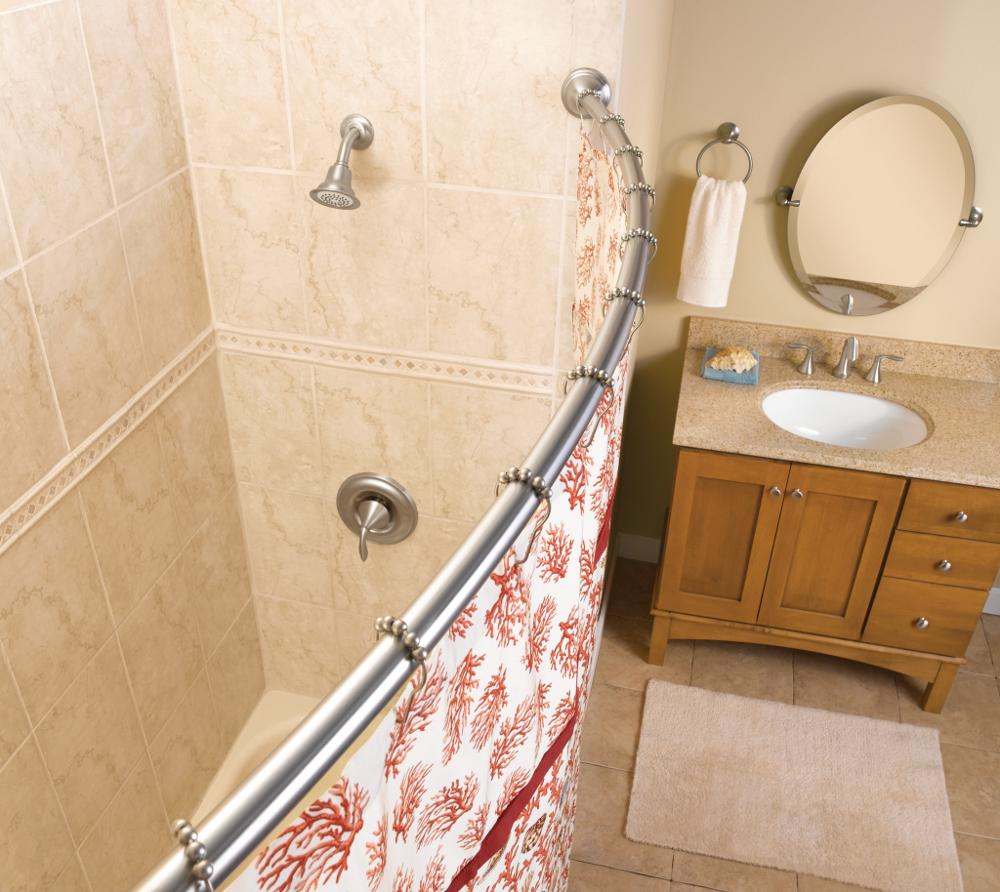 Bowed Shower Curtain Rod.Moen Csr2165owb 5 Foot Curved Fixed Mount Shower Curtain Rod With Pivoting Flanges Old World Bronze