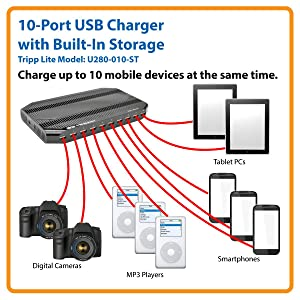 Tripp Lite 10-Port USB Charging Station with Built-In Storage
