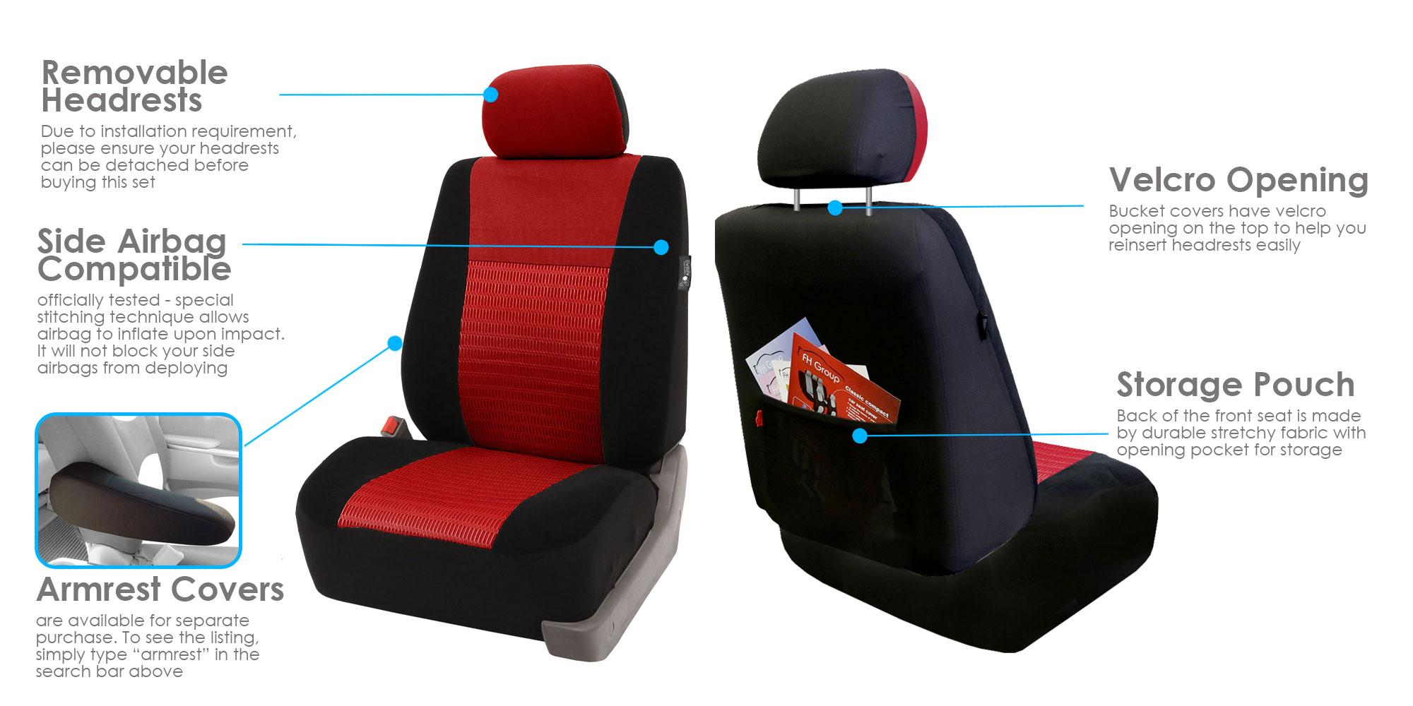 Airbag Compatible Set of 2 FH Group FB060BLUE102 Blue Deluxe 3D Air Mesh Front Seat Cover