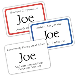 Name badges, free Avery Design & Print Online, personalize, laser or inkjet printer, clip, pin, hang