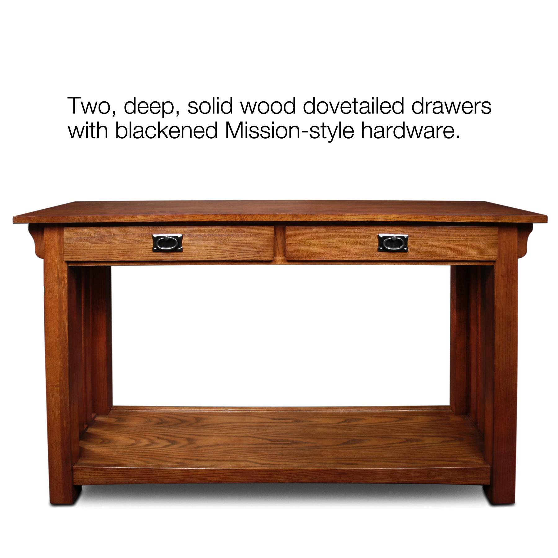Leick Furniture Mission Console Table with Drawers and Shelf in Oak ...
