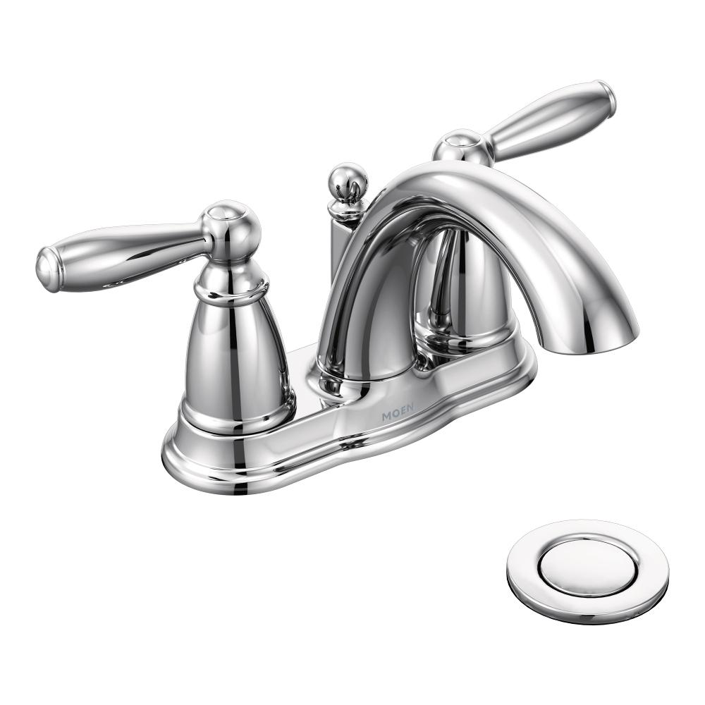 Moen 6610 Brantford Two-Handle Low Arc Bathroom Faucet with Drain ...