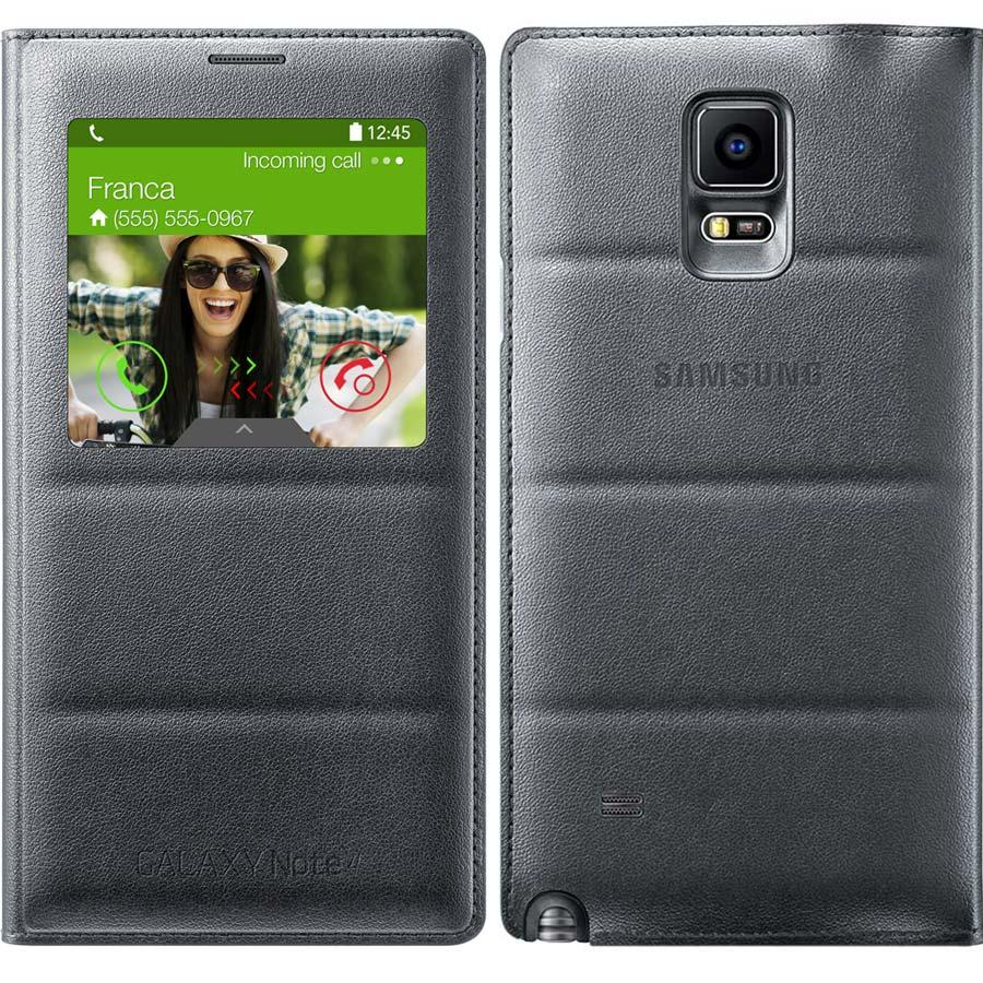 check out a37bf e74a7 Samsung Galaxy Note 4 S-View Flip Cover, Charcoal Black