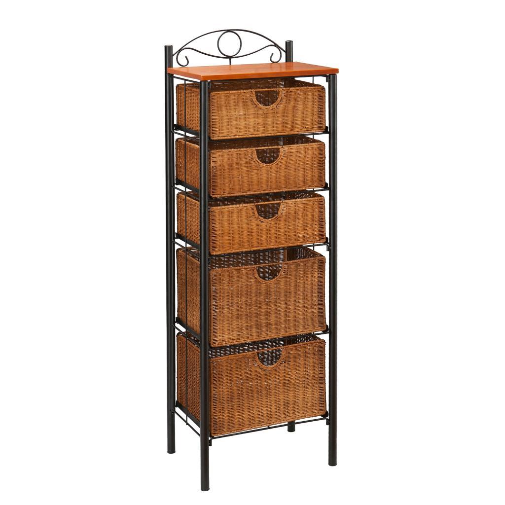 southern enterprises 5 drawer storage unit with wicker baskets black and caramel. Black Bedroom Furniture Sets. Home Design Ideas