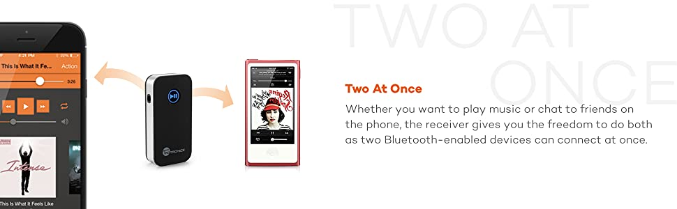 Double link: Connect two Bluetooth devices at once; freedom to enjoy music or answer phone calls