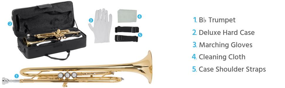 Gold Lacquer Brass B Flat Trumpet with Cupronickel Valves, Case, Cloth, and Gloves