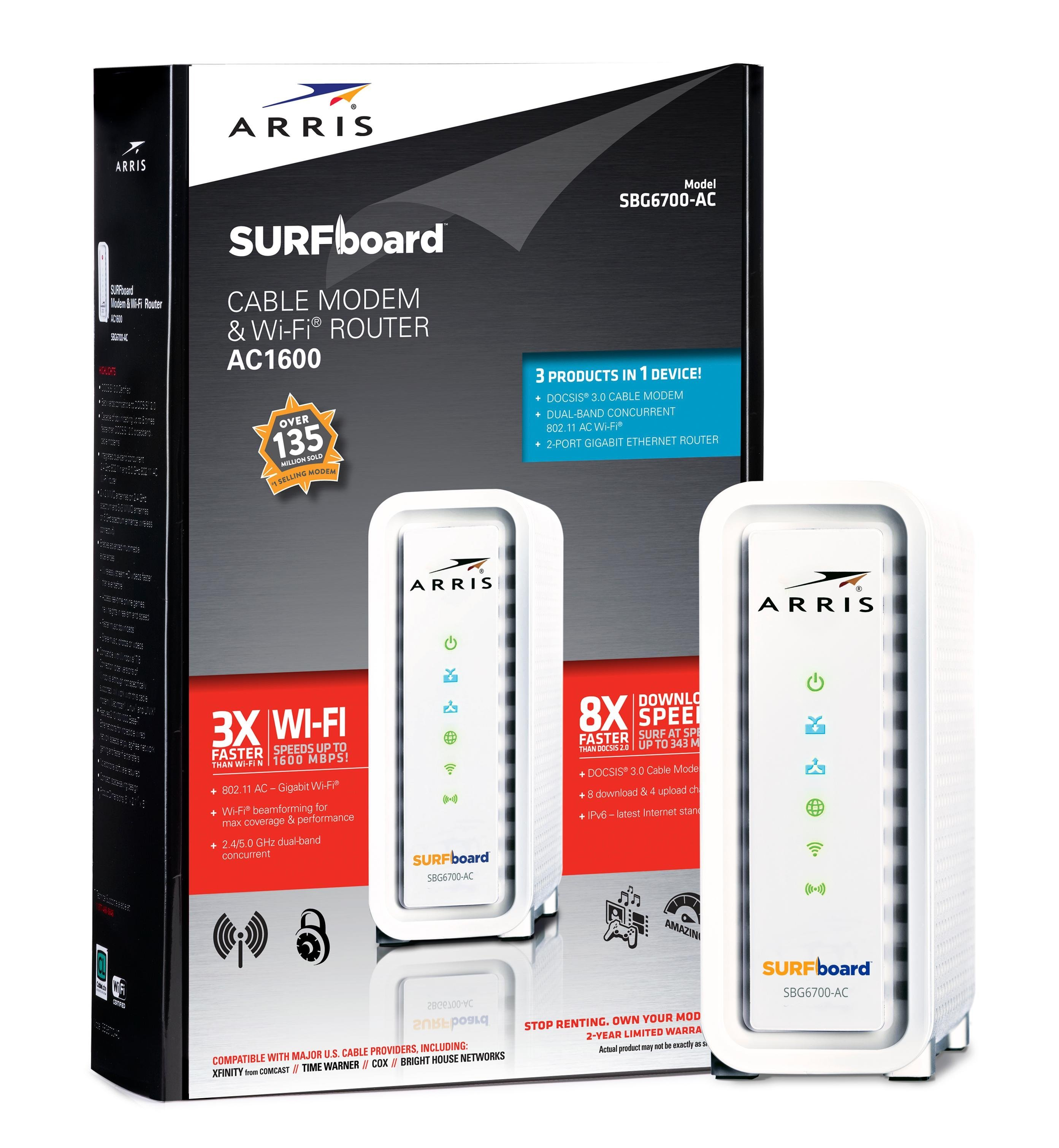 Arris/Motorola Surfboard SB6141 DOCSIS 3 0 Cable Modem - Retail Packaging -  White