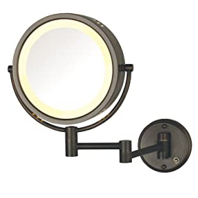 Amazon.com : Jerdon HL75BZD 8.5-Inch Lighted Direct Wire Wall Mount Makeup  Mirror with 8x Magnification, Bronze Finish : Personal Makeup Mirrors :  Beauty