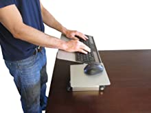 Adjustable height and angle standing desk keyboard tray
