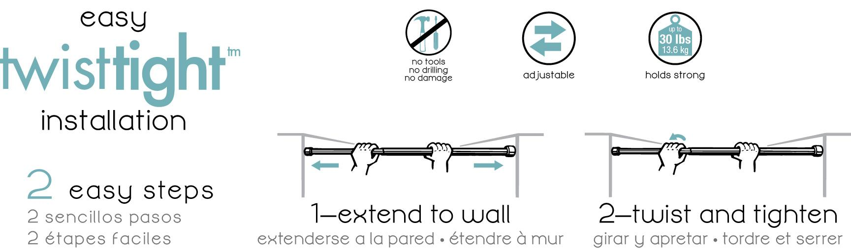 Kenney KN607S 1 Tension Shower Stall Curtain Rod 24 To 38 White