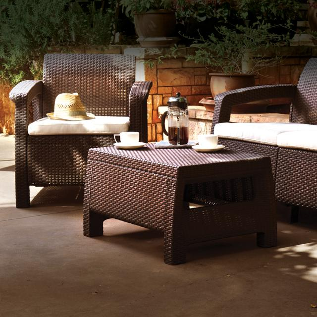 Keter corfu love seat all weather outdoor patio garden for Patio furniture covers amazon ca