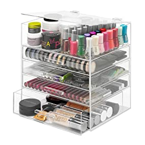 make up, makeup, cosmetic, organizer, acrylic, large, clear, icebox, kardashian, organizers