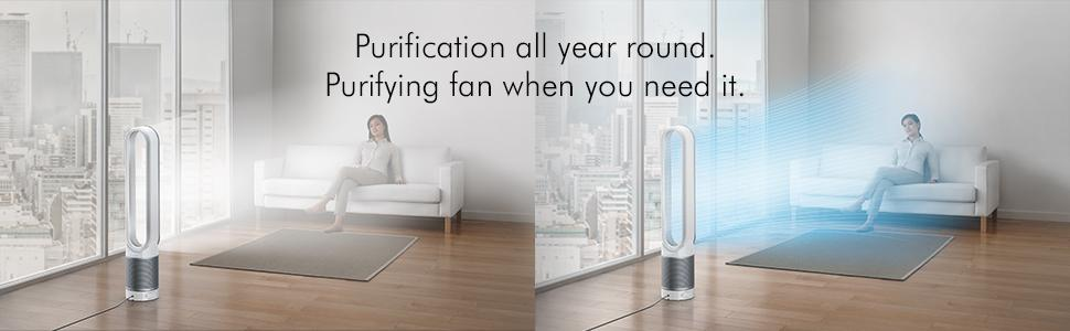 Automatically monitors, reacts and purifies. Dyson Link app enables remote control.